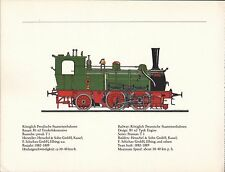 VINTAGE RAILWAY GERMAN TRAIN ENGINES PRINT ~ KONIGLICH PREUSSISCHE