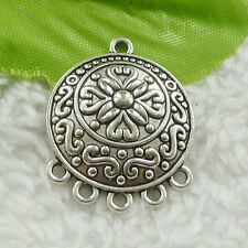 54pcs tibet silver round flower earring connector 29x23mm #4630 Free Ship