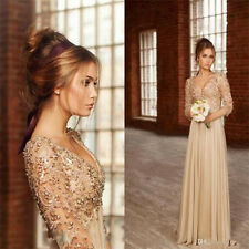 2017 Sexy chiffon Long Prom Dresses Formal Evening Party dress Ball Gown custom.