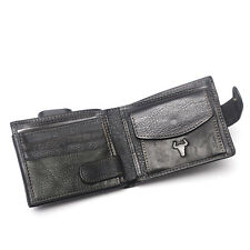 Men Real Leather Compact Bifold Wallet Snapped Holder With Coin Notes Pocket