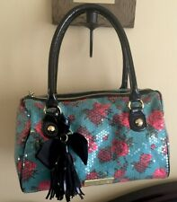 Betsey Johnson Hand Bag Purse Trendy with roses and sequins Handbag Tote Roses