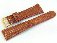 22mm Genuine Real Lizard Skin Leather Watch Band Strap Honey Brown Short