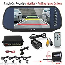 "REAR VIEW MIRROR MONITOR 7"" CAR BACK UP REVERSING CAMERA PARKING SENSORS SYSTEM"
