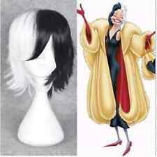 CRUELLA DEVIL 101 Dalmatians Cosplay Wig Half Black White Hair Costume Party