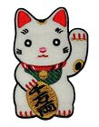 Maneki-neko Welcome Lucky Cat Sew Iron On Embroidered Shirt Jeans Badge Patch