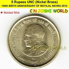 150th BIRTH ANNIVERSARY OF MOTILAL NEHRU Nickel Brass UNC 5 Rupees Five Rs 5