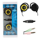 Ear-Hook Stereo EarPad Headphone 2x3.5mm Plugs w/ MIC&Remote for PC Computer