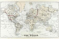 MAP ANTIQUE 1875 BEERS MERCATOR PROJECTION WORLD REPLICA POSTER PRINT PAM1940
