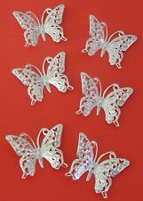 6 Silver filigree butterflies for card making and embellishing