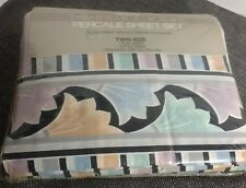 Sears Colormate Twin Sheet Set NOS 180 thread count Percale Fan Stripe 90s