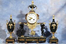 French Bronze Dore Ormolu Gilded Portico Clock With Cherubs Garniture 19th Cent