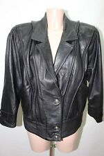 MANTEAU EN CUIR NOIR 44 XXL VESTE COAT LEATHER MOTO / 3