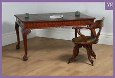 Antique English Georgian Chippendale Style Mahogany Leather Library Table Desk