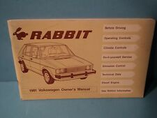 81 1981 Volkswagon Rabbit Diesel owners manual