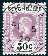 SEYCHELLES-1920 50c Dull Purple & Black Sg 92 FINE USED V14809