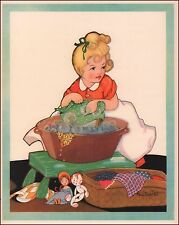 Wash Day, Doll Clothes by Fern Bisel Peat, nice vintage print  authentic 1934