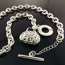 A917 GENUINE REAL 925 STERLING SILVER S/F SOLID LADIES TBAR BAG NECKLACE CHAIN