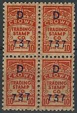 Crown Trading Stamp Co  D 737 on 10mill block 4 MNH wtmrk ESPC overpr Typo