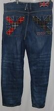 Vintage Rare Coogi Men's Pants Jeans Distressed Blue Plaid Embroidered 36 34 90s