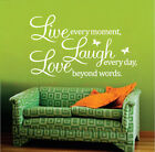 Wall Quote Stickers Vinyl Decal Removable Mural *LIVE, LAUGH, LOVE* Butterfly