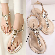 Women girls sandals flats summer rhinestone flat heel flip flops  plus size