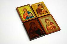 """LOT (4) RUSSIAN POCKET ICONS ON WOOD PANEL. 3 X 2 1/2"""" Lot 349"""