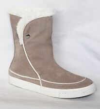 Converse Beverly Mid Taupe Suede Faux Shearling Cuff  Boots Women's 8