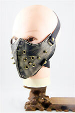 Silver-Metal Spikes Half a Black Mask Punk Rock Gothic Biker Halloween Cosplay
