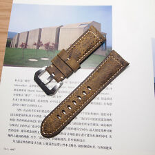 24mm Vintage Brown Genuine Assolumates Leather Watch Band Strap For PAM111