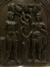 Panel de la iglesia de Roble Tallado Antiguo Adam & Eve Serpiente Gótico