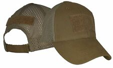 Coyote Brown 3 Hook & Loop Patch Hat / Blank Mesh Baseball Cap 6671