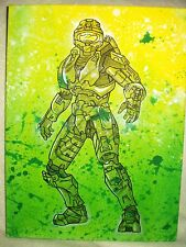 Canvas Painting Halo Master Chief Speckled Green Art 16x12 inch Acrylic