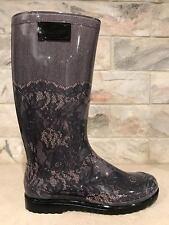 NIB Valentino Rockstud Black Nude Blush Lace Rubber Pull On RainBoots Boots 40