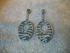 NOLAN MILLER NWOB Earrings Exotic Animal Print Black & Clear Austrian CRYSTALS