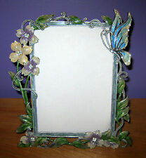 "5"" x 7"" TABLETOP ENAMEL METAL BUTTERFLY & JEWEL FRAME"