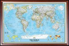 FRAMED WORLD MAP by National Geographic Perfect for Push Pins Walnut Gold Inlay