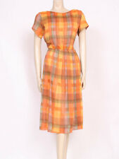 Original Vintage 1950's 50's Arancio Giallo Plaid controlli COTONE Tea Dress! UK 10