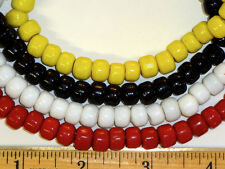 200 Glass Crow Beads, 9 mm Pony Beads, Red, White, Yellow, Black Mixed Colors