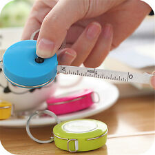 Candy Color Retractable Ruler Sewing Tailor Measuring Tape Key Ring Decor Random