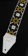 LENNON Rooftop WHITE Cotton TROPHY USA-made Guitar Strap - Beatles Tribute