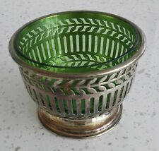 VINTAGE SILVER PLATED  SUGAR BOWL CONDIMENT DISH WITH GREEN GLASS INSERT