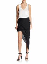 Helmut Lang Kinetic Jersey Asymmetrical Wrap Skirt Draped & Twisted BLACK LARGE