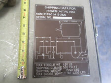"""New Alum Data Tag """"Shipping Data for Power Unit PU-797A"""" for Military Generator"""