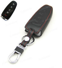 Leather Case Cover Holder For Ford Lincoln MKS MKT MKX Remote Smart Key 5 Button