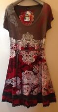 NEW DESIGUAL GRAY/RED VISCOSE  SHORT SLEEVE DRESS TAG SZ -XL,USA SZ- L