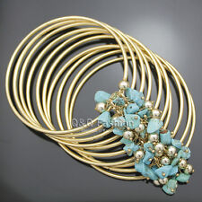 Gold 80S Wrap Layer Fine Wire Wide Turquoise Bead Fringe Bracelet Bangle Cuff