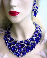 Drag Queen Rhinestone Necklace Earrings Set Blue Bridal Jewerly Large Pageant