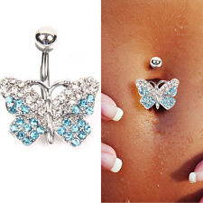 Fashion Blue Crystal Butterfly Belly Ring Body Piercing Reverse Sexy Navel Rings