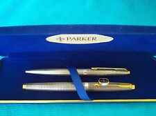 PARKER 75 STERLING SILVER  FOUNTAIN PEN & BALLPOINT SET NEW IN BOX MADE IN USA