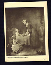 Jean-Baptiste-Siméon Chardin: Saying Grace- 1910 Antique Louvre Souvenir Print